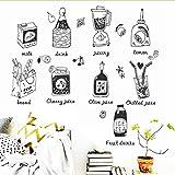 Lkfqjd Kreative Küche Saft Trinken Simulation Wand Aufkleber Bar Restaurant Lebensmittel Maschine Wasserdicht Öl Kühlschrank Magnet Schwarz Aufkleber Dekor 75 * 101 Cm