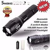 Internet 4000 Lumens G700 Tactical LED CREE XM-L T6 lampe de poche X800 Zoom Super Bright militaire de grade étanche titulaire Torche 5 Modes + porte-piles AAA + 18650 batterie Tube