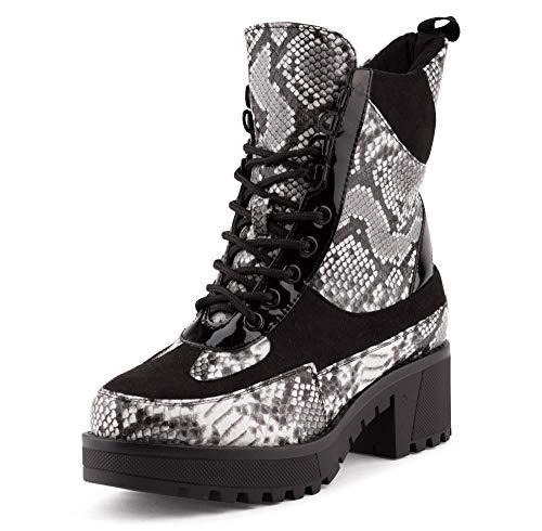 Fusskleidung Damen Stiefel Stiefeletten Plateau Biker Boots Worker Schnürboots Lack Schuhe Schwarz Weiß EU 38 -