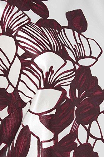 Roman Originals Femme Robe Satinée Floral Tailles 38-50 Bordeaux Rouge