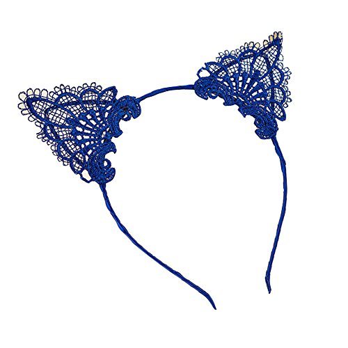 Kostüm Blaue Katze Ohren (Blue Vessel Fancy Dress Kostüm Wired Lace Katze Ohren Stirnband Festival Hen Night Party)