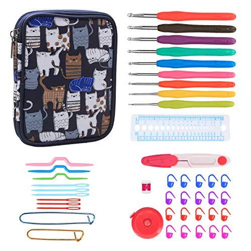 Teamoy set uncinetto ergonomici, accessori per lavorare a maglia per lavorare a maglia incluso un kit completo, con un robusto astuccio, cats blue