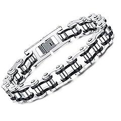 Idea Regalo - Faysting EU Carattere moto roccia stile bracciale a catena in acciaio personalizzata da uomo
