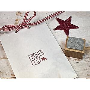Stempel Weihnachtsstempel Frohes Fest mit Elch für DIY Geschenkerpackung, Tags, Scrapbooking, Weihnachtsgeschenke....
