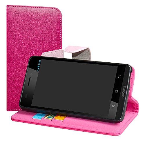 LiuShan Archos 50 Platinum 4G / 50E NEON Hülle, Brieftasche Handyhülle Schutzhülle PU Leder mit Kartenfächer und Standfunktion für Archos 50 Platinum 4G / Archos 50E NEON Smartphone,Pink