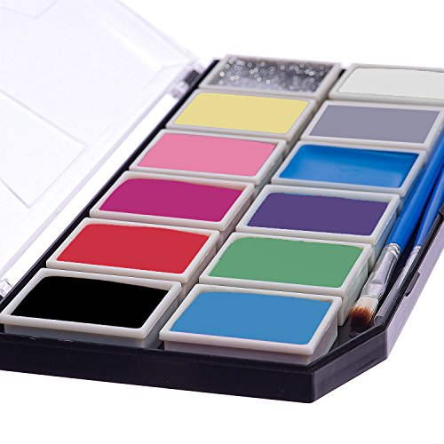 Profi Palette mit 11 Sicheren & Ungiftigen Farben, 1 Glitzer, 3 Pinsel, 18 Schablonen und 2 Schwämme, (X-Large), Professionelle Schminksets Ideal für Kinder, Parties, Bodypainting (Party Palette Gesicht Malen Kit)