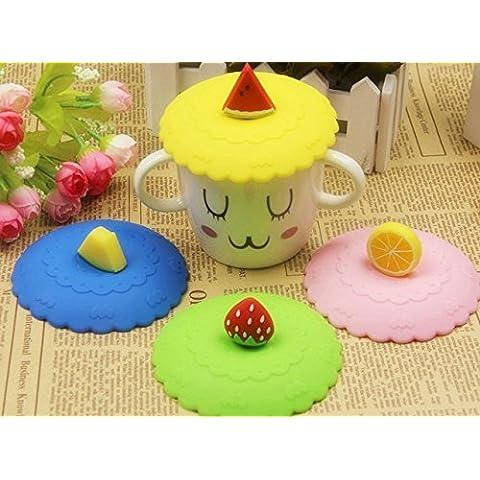 Efbock Cute Anti-polvo de vidrio de silicona Copa de la taza de café de la taza de succión tapa Tapa 2pcs