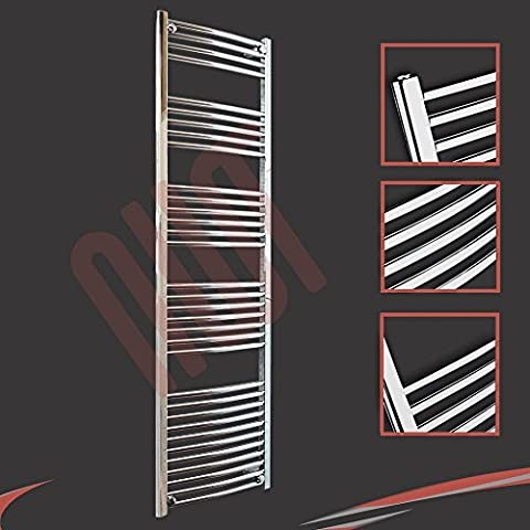500mm(w) x 1800mm(h) Curved Chrome Heated Towel Rail, Radiator, Warmer