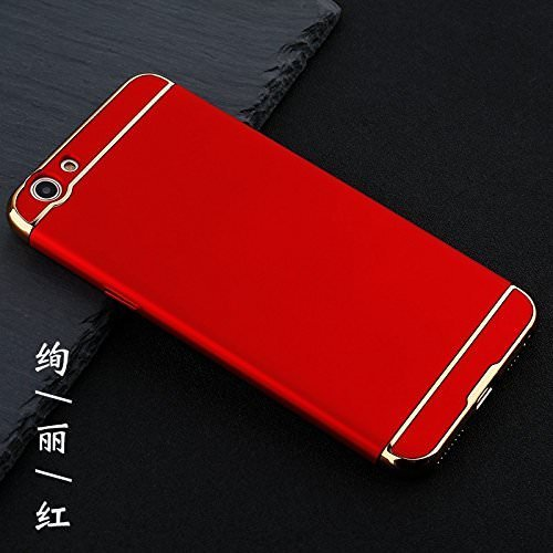 new style 01902 ac319 Mobiclonics Ultra-Thin 3in1 Electroplate Metal Texture Plastic Hard Back  Case Cover for Vivo Y55s-Red
