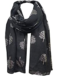 World of Shawls Silver Foil Mulberry Tree Print Fashion Scarf