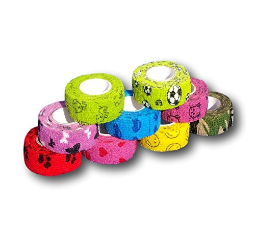 9er-Set Kinderpflaster | Fingerverband | Pflasterverband | Pflaster ohne Kleber - Bunter Motiv-Mix - 2,5cm x 4,5m - elastisch, wasserabweisend, kohäsiv ...