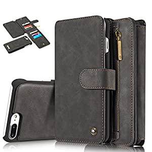 Sanchar's original for iphone 7 plus (5.5 inch) Luxury Brand Flip Cover For iphone7 plus Case Genuine Real Leather Wallet Card Holder Original Phone Case leather Flip wallet Magnetic phone case (Black colour)