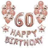 Yoart 60. Geburtstag Dekorationen Rose Gold für Sie und Frauen Party Supplies 39 Stück mit Alles Gute zum Geburtstag Banner Konfetti Latex Ballons Star Foil Balloons