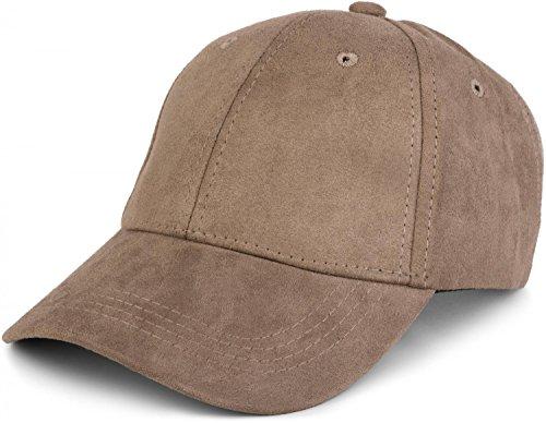 styleBREAKER 6-Panel Cap in Veloursleder, Wildleder Optik, Baseball Cap, verstellbar, Unisex 04023049, Farbe:Khaki Canvas-cap Khaki