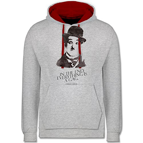 Vintage - Charlie Chaplin - in the end, everything is a gag - Kontrast Hoodie Grau Meliert/Rot