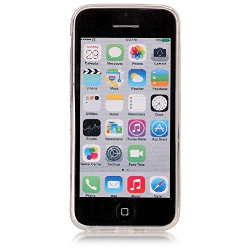 Custodia iPhone 5C, ISAKEN Cover per Apple iPhone 5C [TPU Shock-Absorption] - Marmo Modello Avorio Naturale Custodia Soft TPU Sottile Custodia Case Morbido Protettiva Bumper Caso, Marmo Bianco Fiori rosa