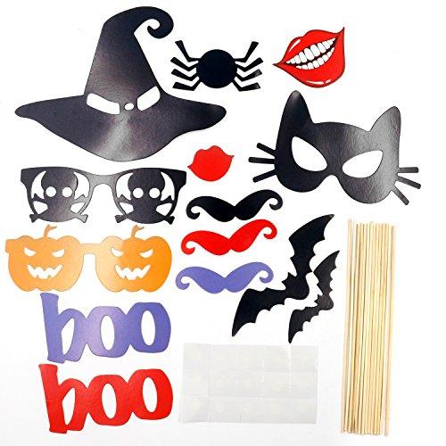 Trixes 14 Stück DIY Halloween Foto Booth Requisiten Hexen Hut Fledermäuse und Vieles Mehr Partyspaß