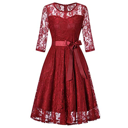 Damen 3/4 Arm Spitzen Kleid Brautjungfer Langes Cocktailkleid Elegant Abendkleid Formale Hochzeit Hohe Taille Slim Fit Party Brautkleid Spitzenkleid (Party Christmas Themen Fun)