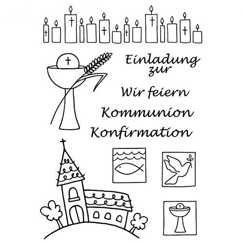 "Clear Stempel-Set""Kommunion/Konfirmation"", ca. 7,4x10,5cm"
