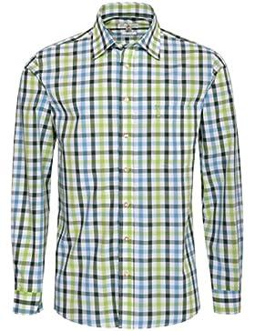 Almsach Trachtenhemd Steffe Regular Fit Mehrfarbig in Hellgrün, Dunkelgrün und Türkis Inklusive Volksfestfinder