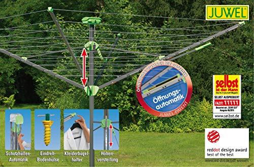JUWEL Wäschespinne Novaplus Evolution Lift (automatisches Öffnen, stufenlose Höhenverstellung, Spannweite: 2,1 m) 30097