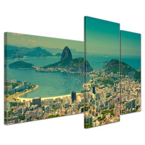 Kunstdruck - Rio De Janeiro - Berg Corcovado - Bild auf Leinwand - 130x80 cm 3 teilig - Leinwandbilder - Bilder als Leinwanddruck - Wandbild von Bilderdepot24 - Städte & Kulturen - Panorama Stadtansicht - Brasilien - Südamerika