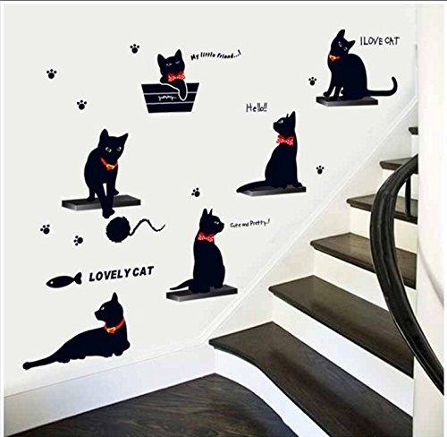 Adesivi murali piccola famiglia gatto nero fumetto - soggiorno, camera dei bambini, scuola materna, sfondo creativo, adesivi animali decorativi, famiglia di gatto nero 843, grande