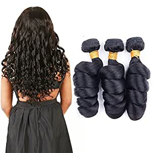 Brazilian Loose Wave 3 Bundle Black Natural Human Full Head Weave Virgin Hair Extension Can Be Dye Wholesale Weave 10a(14 16 18 inches)
