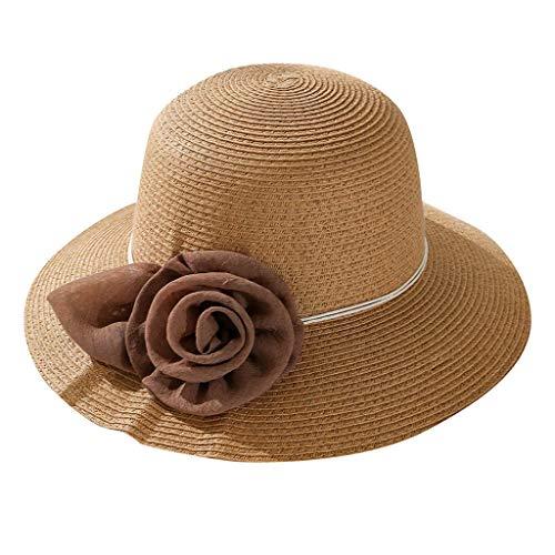 Auiyut Panamahut Damen Großer Brim Sonnenhut Sommer Mesh Große Blumen Wilder Mode Strohhut Flowers Dekorative Hat Beach Hüte Mode Wilden Strohhut
