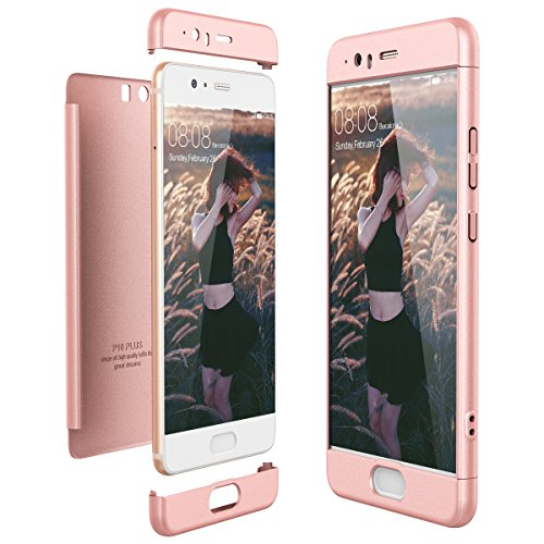 CE-Link Cover Huawei P10 Plus 360 Gradi Full Body Protezione, Custodia Huawei P10 Plus Silicone Rigida Snap On Struttura 3 in 1 Antishock e Antiurto, Huawei P10 Plus Case Antigraffio Molto Elegante - Oro Rosa