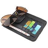 Car PU Leather Storage Case Sunglasses Organizer Sun Visor Sunshade Sleeve Wallet Clips Sun Visor Black Color