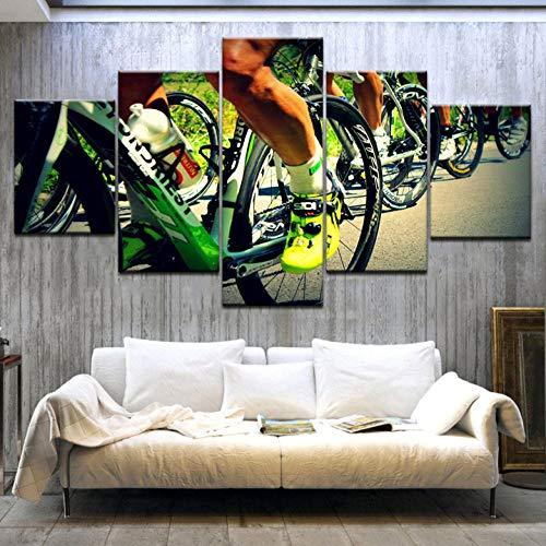 Leinwand Mountainbike Fahrrad Kunst Malerei 5 Panel Hd Druck Sport Moderne Wand Poster Leinwand Für Zuhause Wohnzimmer Dekoration-12X16/24/32 Zoll-Ohne Rahmen