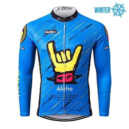 Thriller rider sports® uomo aloha blue sport e tempo libero abbigliamento ciclismo magliette inverno termico caldo giacca large