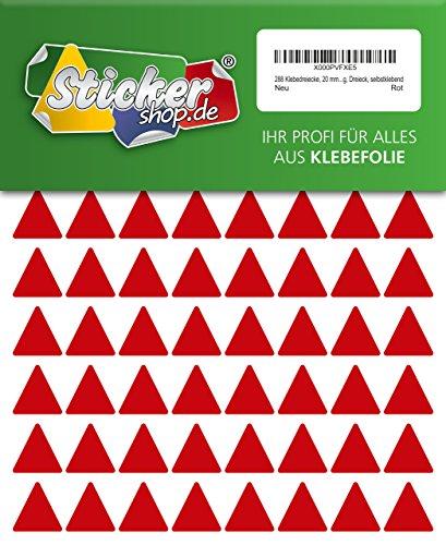 288 Aufkleber, Dreieck, Sticker, 20 mm, rot, PVC, Folie, Vinyl, glänzend, Klebemarkierung, selbstklebend