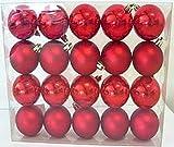 20 Stk. Christbaumkugeln rot matt u. glänzend - Kugel-Set Baumschmuck Weihnachtsbaumschmuck Baumkugeln Weihnachtsdeko Kunststoff