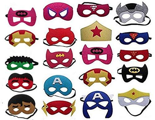 Superhelden Masken, 20 Stück Kinder Masken Halbe Augenmasken für Kinder Erwachsene Partytasche Füller Filzmaske mit Verstellbarem Elastischem Seil von 3 - Home Superhelden Kostüm