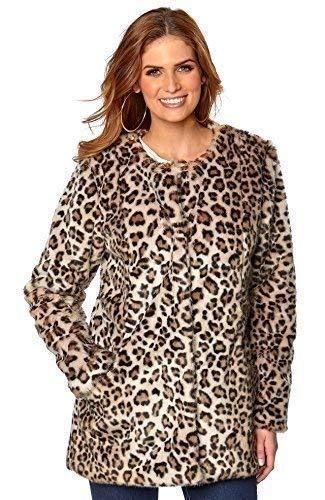Vacaciones Suitcase-Stunning PELOS Sintéticos Estampado Leopardo Chaqueta Abrigo Talla 6-20 GB - MARRÓN/Beige, Marrón/Beige, 10-12