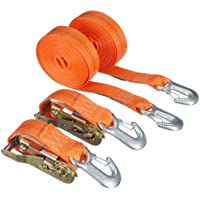 Braun 1000-2-600+3030/VE2 Lashing Strap 2000 daN Two-Piece Set Colour Orange 6 m Long 35 mm in Width with Ratchet and Carabiner Hooks