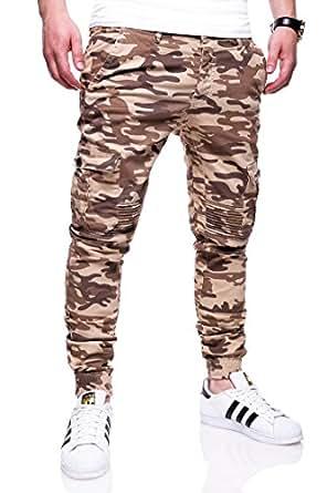 MT Styles Cargo Jogging-Jeans Camouflage homme RJ-3225 [beige, W28]