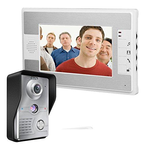 MOUNTAINONE 7 Inch Video Door Phone Video Doorbell Entry System Intercom Kit 1-camera 1-monitor Night Vision Security Camera
