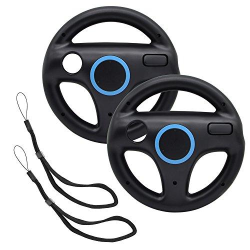 AZFUNN Mario Kart Lenkräder, 2 Schwarze Rennräder mit Wii Rad, Wii Mario Kart-Spiel-Fernbedienung, Zubehör, Fahrrad für Mario Kart, Panzer, mehr Wii U oder Wii Spiele