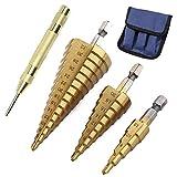 3-Teiliges Titan Stufenbohrer-Set, langlebig, Hochgeschwindigkeitsstahl-Mehrzweck-Bohrer mit Aufbewahrungstasche 4-12 mm/4-20 mm/4-32 mm