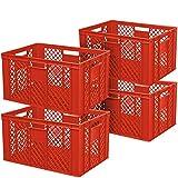 4x Eurobehälter durchbrochen/Stapelkorb, Industriequalität, lebensmittelecht, 600 x 400 x 320 mm, rot