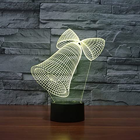 Illusione 3d lampada luce notturna jawell Natale Bell 7Cambiare colore Touch USB tavolo regalo giocattoli decorazioni