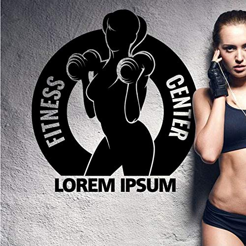 Gym Hanteln Iorem Ipsum Aufkleber Girl Fitness Crossfit Aufkleber Bodybuilding Poster Vinyl Wandtattoos Dekor Gym Aufkleber 40X44cm