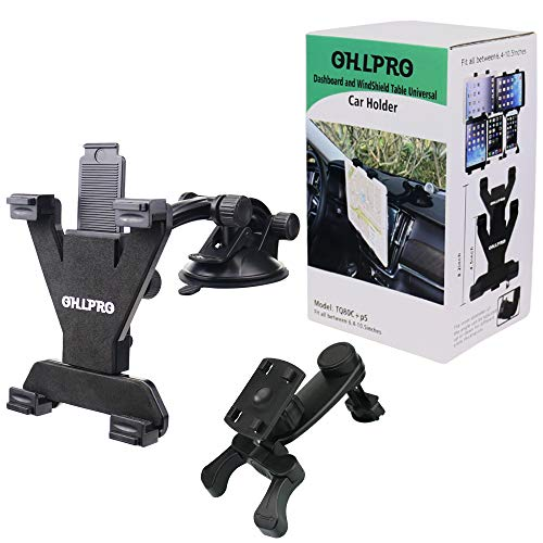 """Tablet Holder for Car Mount,OHLPRO Car Air Vent Bracket and Universal Suction Cup Long Arm Tablet Stand Dashboard Windshield 360°Rotating Adjustable for iPad/iPad Mini Samsung Size 6""""- 10.5"""""""