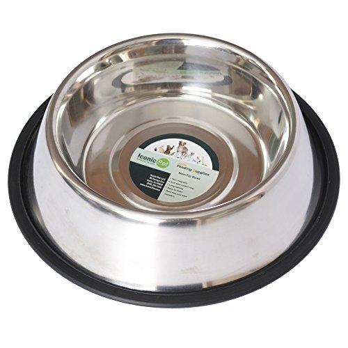 Iconic Pet Edelstahl-Futternapf für Haustiere mit Gummiring in Verschiedenen Größen - Rostfrei, für Hunde und Katzen, spülmaschinenfest, geräuschfrei, Rutschfest und stabil, 3 Cup/24 oz, Silber