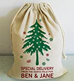 Calze di Natale personalizzato, personalizzato, sacca, sacco di Babbo Natale, calza di Natale, Babbo Natale, Natale, albero di Natale, 50x 75cm