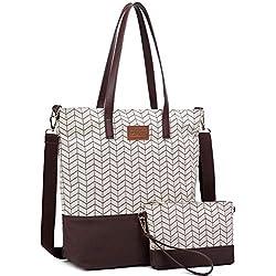 Myhozee Bolsos de Mujer Bolso de Mano Lona Grande Bolso Tote Bolso de Hombro Bolso Bandolera Shopper Shopping Bags, café