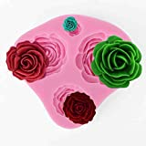 Stampo In Silicone con 4 Fori Rose 3D Matrimoni Torte Fondente Marzapane Decorazioni [version:x8.7] by DELIAWINTERFEL